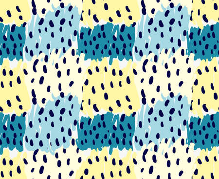 tilable: Abstract yellow and blue patches with black dots.Hand drawn with paint brush seamless background.Modern hipster style design.