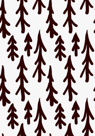 tilable: Black marker drawn trees.Hand drawn with paint brush seamless background. Abstract texture. Modern irregular tilable design.