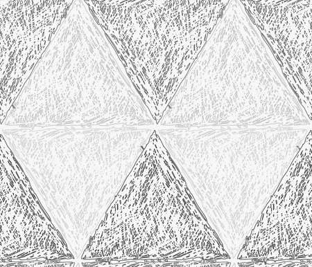hatched: Pencil hatched light and dark gray triangles in row forming diamonds.Hand drawn with brush seamless background.Modern hipster style design. Illustration