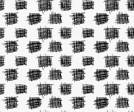 Black marker drawn simple scribble squares.Hand drawn with paint brush seamless background. Abstract texture. Modern irregular tilable design. Illustration