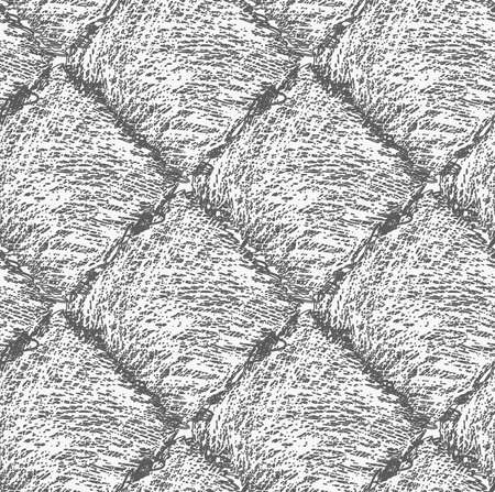 textiles: Pencil hatched dark gray squares .Hand drawn with brush seamless background.Modern hipster style design. Illustration
