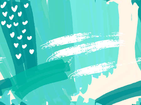 paint swatch: Abstract green with white hearts.Hand drawn with paint brush seamless background.Modern hipster style design.