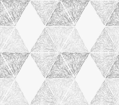 Pencil hatched light gray hexagons.Hand drawn with brush seamless background.Modern hipster style design.