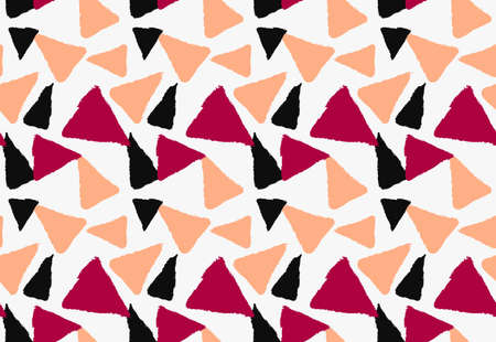 Marker drawn orange red and black triangles.Hand drawn with marker seamless background.Modern hipster style design.