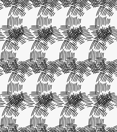 hatched: Black marker hatched crossing arc cells.Free hand drawn with ink brush seamless background. Abstract texture. Modern irregular tilable design.