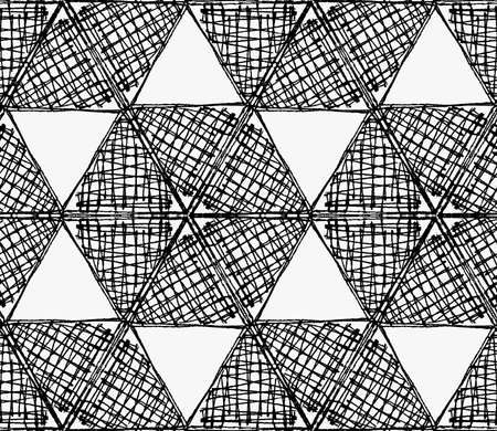 tilable: Black marker scribbled hexagons in row.Free hand drawn with ink brush seamless background. Abstract texture. Modern irregular tilable design.