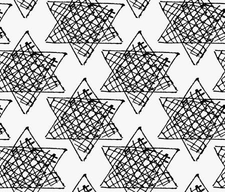 hatched: Black marker hatched stars.Free hand drawn with ink brush seamless background. Abstract texture. Modern irregular tilable design. Illustration