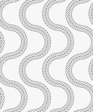 tilable: Black marker vertical wavy braids.Free hand drawn with ink brush seamless background. Abstract texture. Modern irregular tilable design. Illustration