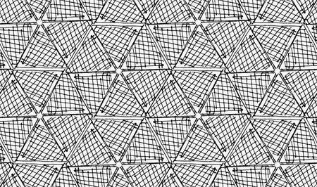 hatched: Black marker hatched hexagons in row.Free hand drawn with ink brush seamless background. Abstract texture. Modern irregular tilable design.