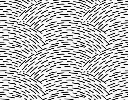 tilable: Black marker overlapping hatched waves.Free hand drawn with ink brush seamless background. Abstract texture. Modern irregular tilable design.