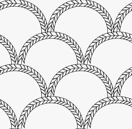 tilable: Black marker braids in arcs.Free hand drawn with ink brush seamless background. Abstract texture. Modern irregular tilable design. Illustration