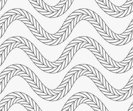 tilable: Black marker horizontal wavy braids.Free hand drawn with ink brush seamless background. Abstract texture. Modern irregular tilable design.
