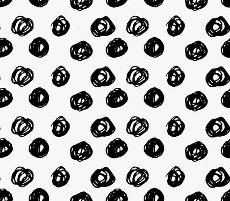 tilable: Black marker big scribble dots.Free hand drawn with ink brush seamless background. Abstract texture. Modern irregular tilable design. Illustration