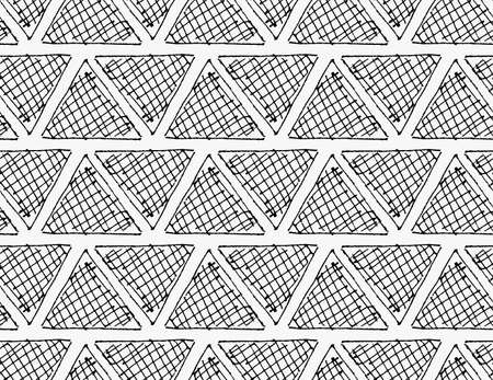hatched: Black marker hatched triangles in row.Free hand drawn with ink brush seamless background. Abstract texture. Modern irregular tilable design.