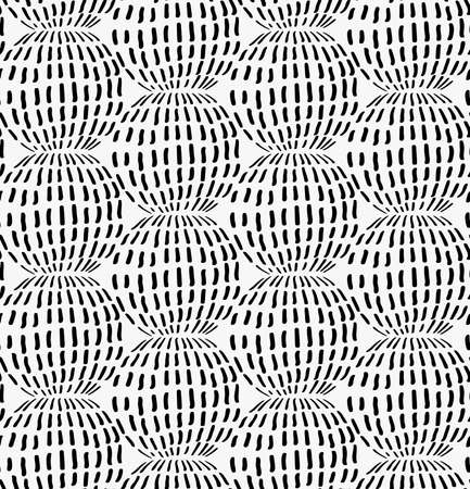 tilable: Black marker dashed circles.Free hand drawn with ink brush seamless background. Abstract texture. Modern irregular tilable design. Illustration