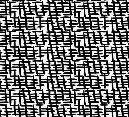 tilable: Black marker thick crossing hatches.Free hand drawn with ink brush seamless background. Abstract texture. Modern irregular tilable design.