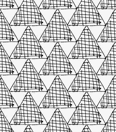 hatched: Black marker hatched triangles.Free hand drawn with ink brush seamless background. Abstract texture. Modern irregular tilable design.