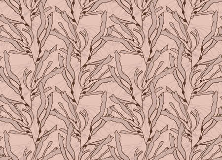 kelp: Kelp seaweed light brown with overlay.Hand drawn with ink seamless background.Modern hipster style design.