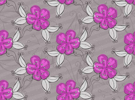 hand brushed: Light purple flowers.Hand drawn with ink and colored with marker brush seamless background.Creative hand made brushed design.