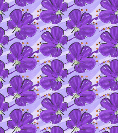 dry flower: Big purple flower on purple brushed background.Hand drawn with ink and colored with marker brush seamless background.Creative hand made brushed design.
