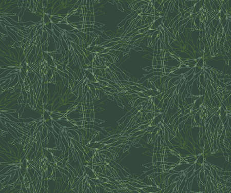 Kelp forest green overlapping.Hand drawn with ink and marker brush seamless background.Six color pallet collection.
