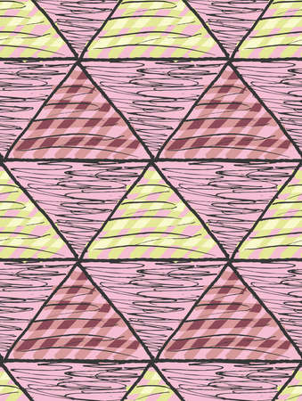 inked: Inked triangles scribbled.Hand drawn with ink and marker brush seamless background.Six color pallet collection.