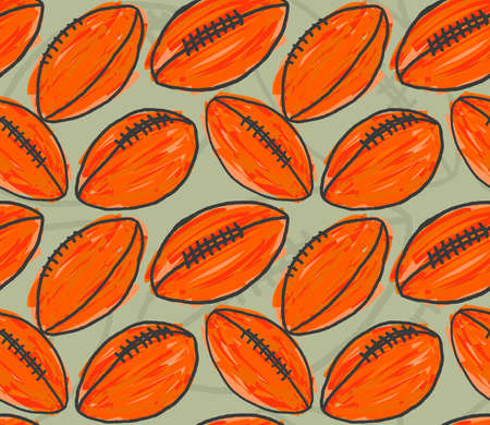 hand brushed: Orange American football balls.Hand drawn with ink and colored with marker brush seamless background.Creative hand made brushed design. Illustration