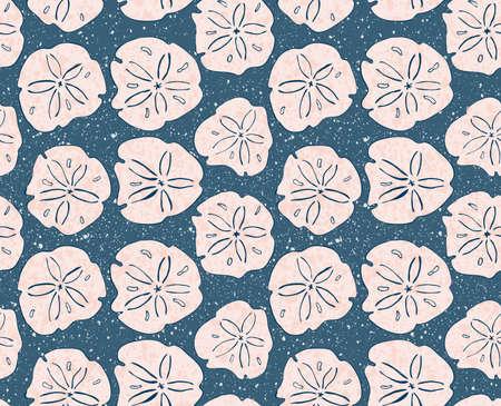砂ドルはテクスチャでピンク色。手書きインクのシームレスな背景を持つ。モダンな流行に敏感なスタイルのデザイン。  イラスト・ベクター素材