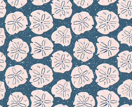 Sand dollar pink with texture.Hand drawn with ink seamless background.Modern hipster style design. 向量圖像