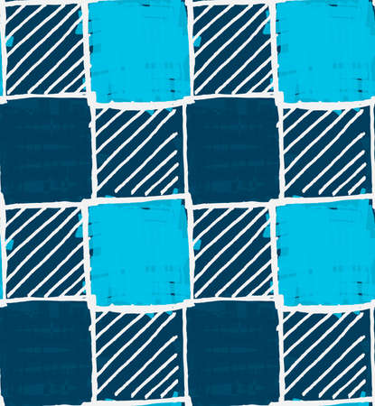 hand brushed: Blue squares with white hatching.Hand drawn with ink and colored with marker brush seamless background.Creative hand made brushed design.