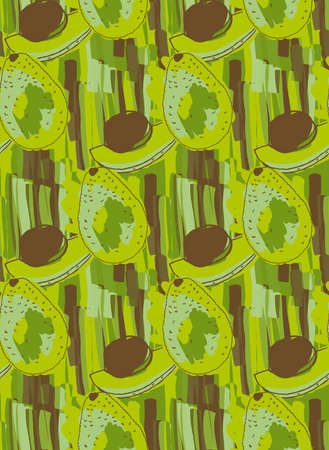 hand brushed: Green avocado with brown kernel .Hand drawn with ink and colored with marker brush seamless background.Creative hand made brushed design.