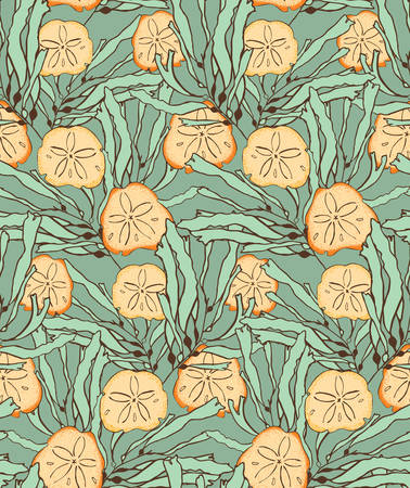 sand dollar: Kelp seaweed green with sand dollar.Hand drawn with ink seamless background.Modern hipster style design.