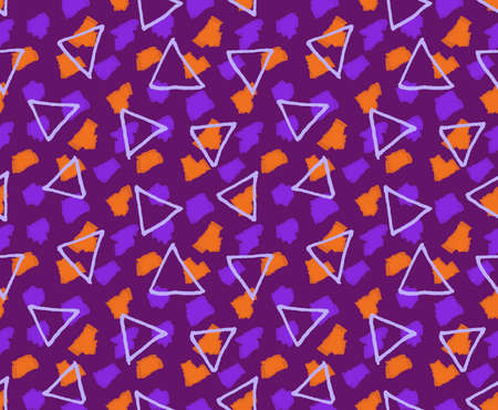 hand brushed: Rough triangles textured with marker brushes purple and orange.Hand drawn with ink and colored with marker brush seamless background.Creative hand made brushed design.