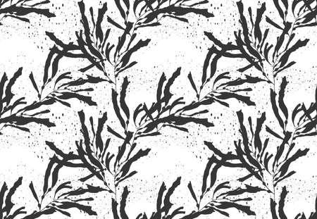 Alga kelp negro en texture.Hand negro dibujado con diseño de estilo inconformista sin fisuras background.Modern tinta. Ilustración de vector