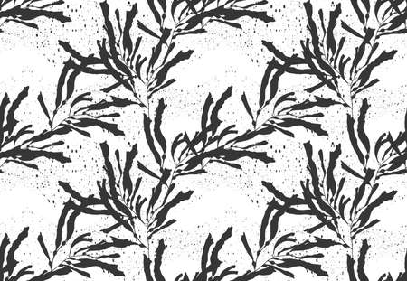 Kelp seaweed black on black texture.Hand drawn with ink seamless background.Modern hipster style design.