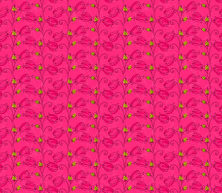 hand brushed: Pink flower on vine on pink.Hand drawn with ink and colored with marker brush seamless background.Creative hand made brushed design.Big flower collection. Illustration