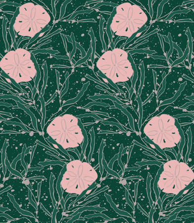 kelp: Kelp seaweed with sand dollar.Hand drawn with ink seamless background.Modern hipster style design.