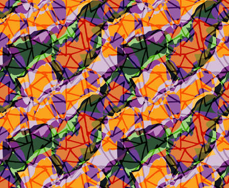 hand brushed: Rough triangles on busy purple orange background .Hand drawn with ink and colored with marker brush seamless background.Creative hand made brushed design. Illustration