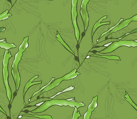 hand brushed: Kelp seaweed green watercolor on green.Hand drawn with ink and colored with marker brush seamless background.Creative hand made brushed design.