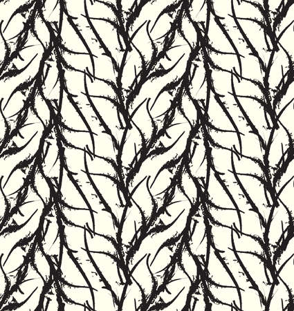 kelp: Kelp seaweed black abstract rough white.Hand drawn with ink seamless background.Modern hipster style design.