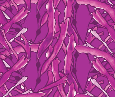 kelp: Kelp seaweed purple watercolor.Hand drawn with ink and colored with marker brush seamless background.Creative hand made brushed design.