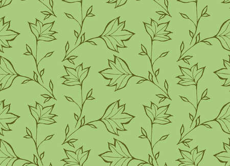 hand brushed: Green pointy leaves.Hand drawn with ink and colored with marker brush seamless background.Creative hand made brushed design.Big flower collection. Illustration