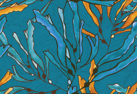 hand brushed: Kelp seaweed blue and yellow watercolor.Hand drawn with ink and colored with marker brush seamless background.Creative hand made brushed design.
