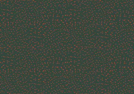 Kelp forest red inked dots on green.Hand drawn with ink and marker brush seamless background.Six color pallet collection. Ilustração