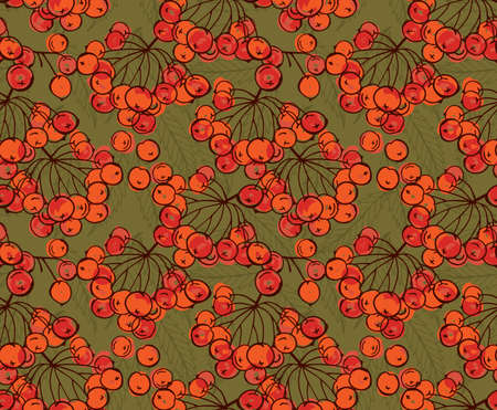 Rowan berries on green.Hand drawn with ink and marker brush seamless background.Six color pallet collection.
