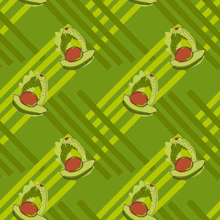 the kernel: Green avocado with brown kernel on stripes.Hand drawn with ink and colored with marker brush seamless background.Creative hand made brushed design.