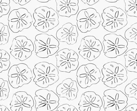 Sand dollar black.Hand drawn with ink seamless background.Modern hipster style design.