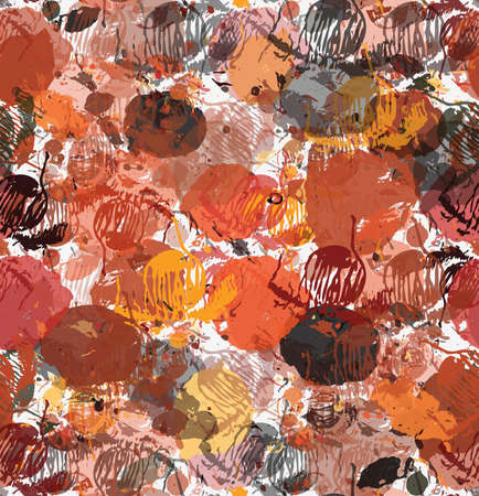 Paint bleeding stains orange and brown.Hand drawn with ink and marker brush seamless background.Colored paint overlapping stains and splashes creating artistic design backdrop. Ilustrace