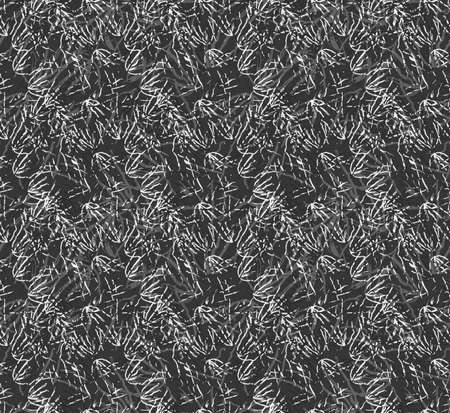 kelp: Kelp seaweed black and white texture.Hand drawn with ink seamless background.Modern hipster style design. Illustration