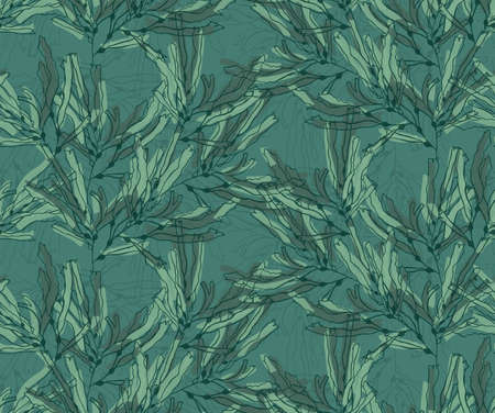 kelp: Kelp seaweed green marker brushed .Hand drawn with ink seamless background.Modern hipster style design. Illustration
